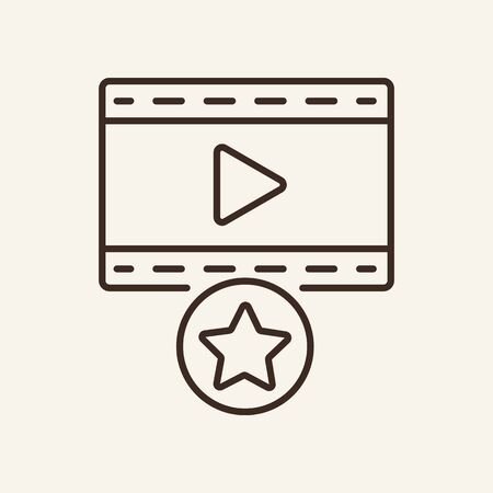 Favourite movie line icon. Television, multimedia, leisure. Cinema business concept. Vector illustration can be used for topics like cinematography, entertainment, leisure