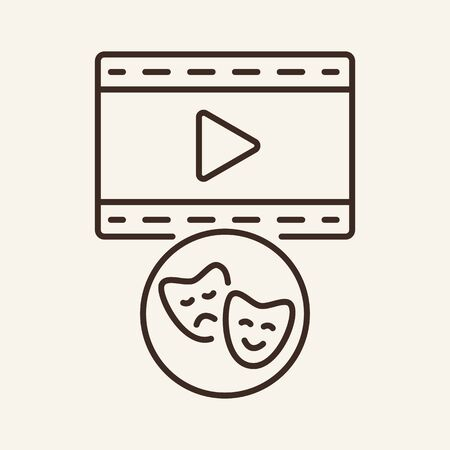 Film screening line icon. Television, multimedia, leisure. Cinema business concept. Vector illustration can be used for topics like cinematography, entertainment, leisure
