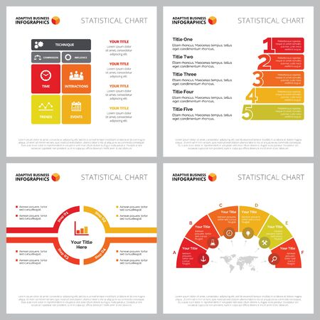 Creative diagram set for management, teamwork, strategy concept. Can be used for business project, marketing report, workflow layout. Matrix, semicircle, segment, option, process chart