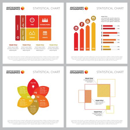 Creative diagram set for social media marketing concept. Can be used for business project, annual report, workflow layout. Matrix chart, bar, comparison, percentage, petal