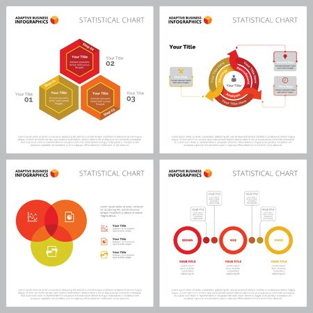 Creative diagram set for project management, analysis concept. Can be used for business project, marketing report, web design, presentation slide template. Venn chart, process, circle, hexagon Illustration