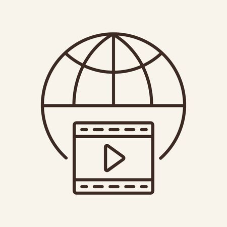 World filming line icon. Television, multimedia, leisure. Cinema business concept. Vector illustration can be used for topics like cinematography, entertainment, leisure