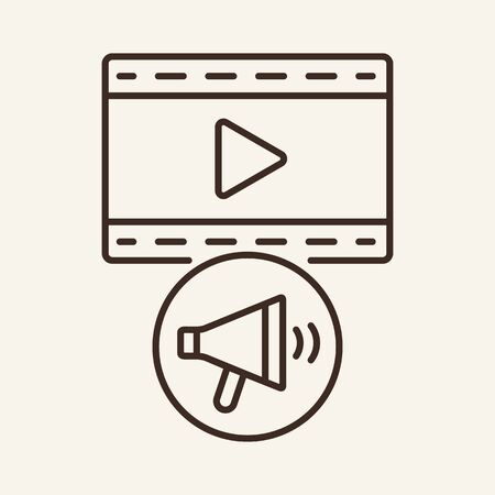 Promotion of film line icon. Television, multimedia, leisure. Cinema business concept. Vector illustration can be used for topics like cinematography, entertainment, leisure Illusztráció