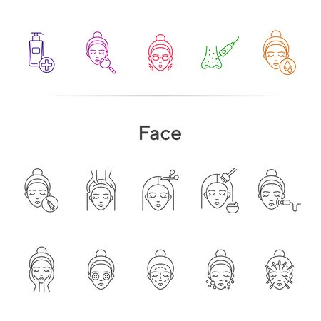 Face line icon set. Woman, female, head, massage, moistening, peeling. Beauty care concept. Can be used for topics like skin care, cosmetologist, dermatology  イラスト・ベクター素材