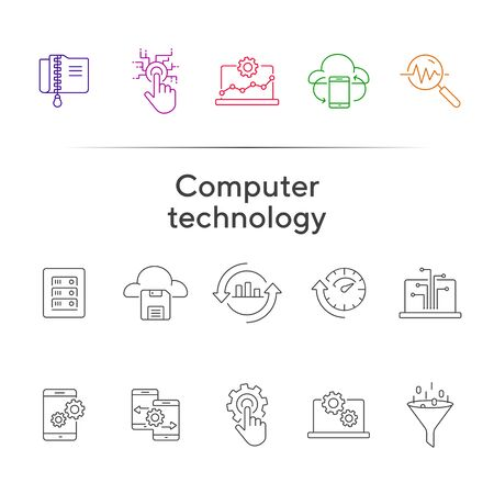 Computer technology line icon set. Database, cogwheel, settings. Network concept. Can be used for topics like hosting, connection, update