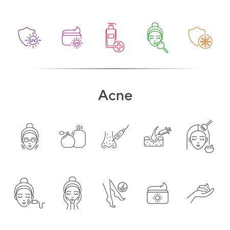 Acne line icon set. Female face, massage, peeling, cream. Skin care concept. Can be used for topics like beauty salon, cosmetology, cleaning, problem