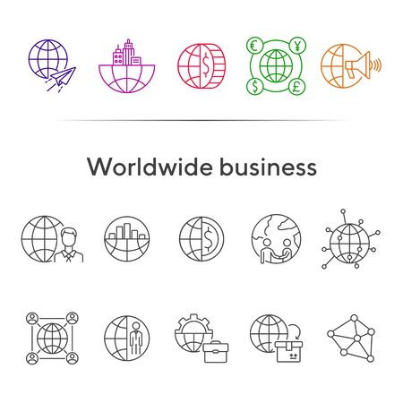 Worldwide business line icon set. Planet, currency, diagram, businessman. Business concept. Can be used for topics like finance management, investment, partnership Illusztráció