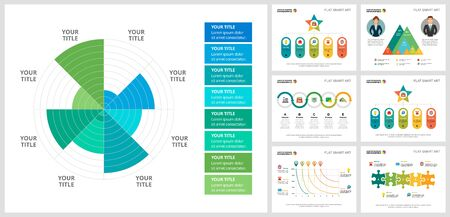 Colorful infograph charts set. Business design elements for presentation slide templates. Statistics concept can be used for annual report, advertising, flyer layout and banner design.