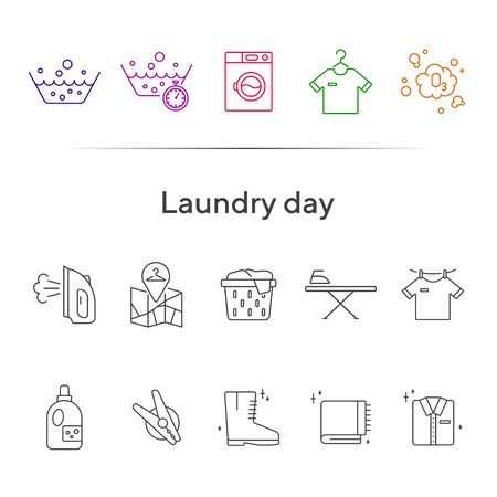 Laundry day line icon set. Clean clothes, washing, detergent. Household concept. Can be used for topics like hygiene, service Ilustracja