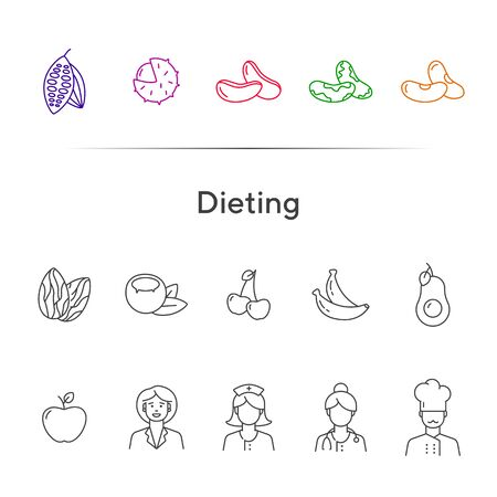 Dieting icons. Set of line icons on white background. Nutritionist, chef, organic food. Healthy eating concept. Vector illustration can be used for topics like vitamin, vegetarian restaurant, health Ilustração