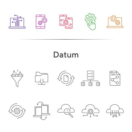 Datum line icon set. Document, smartphone, data exchange. Connection concept. Can be used for topics like cloud service, server, software