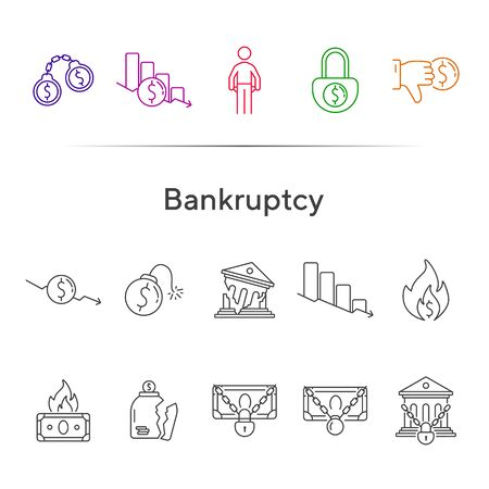 Bankruptcy icons. Set of line icons on white background. Financial crime, decrease, burning money. Economic depression concept. Vector illustration can be used for topics like finance, banking, money Ilustração