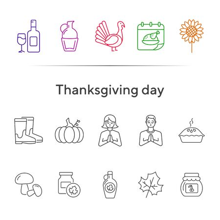 Thanksgiving day line icon set with pumpkin pie and turkey cock. Sunflower, gumboots, maple syrup. Thanksgiving concept. Can be used for topics like autumn, holiday, dinner, harvest Çizim
