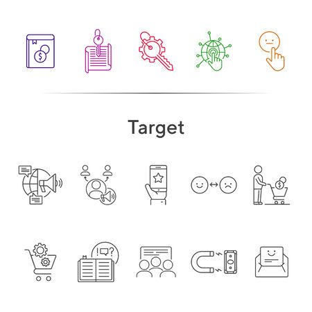 Target line icons. Set of line icons. People at presentation, magnet with banknote. Finance concept. Vector illustration can be used for topics like banking, business
