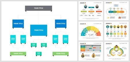 Colorful planning or strategy concept infographic charts set. Business design elements for presentation slide templates. For corporate report, advertising, leaflet layout and poster design.