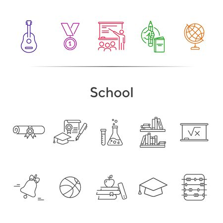 School icons. Set of line icons. Chemistry class, diploma, bookshelves. Studying concept. Vector illustration can be used for topics like education, university, scholarship Иллюстрация