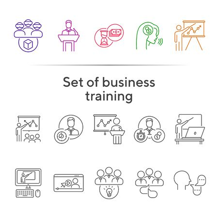 Set of business training icons. Speaker making presentation, trainer pointing at diagram, sandglass. Training concept. Vector illustration can be used for topics like education, internet, business