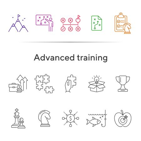 Advanced training icon set. Line icons collection on white background. Puzzle, coaching, skill. Experience concept. Can be used for topics like career, motivation, strategy Ilustrace