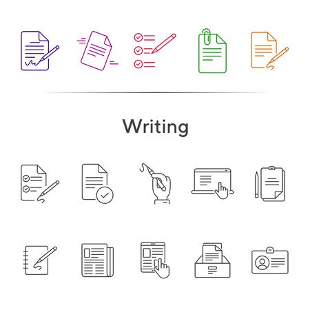 Writing icons Simple icons collection on white background. Notes, laptop, newsletter, notepad. Document concept. Vector illustration can be used for topics like copywriting, documentation, journalism Illustration