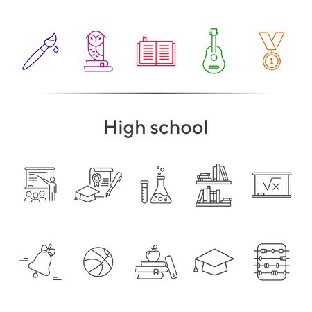 High school icons. Set of line icons. Abacus, medal, academic cap. Education concept. Vector illustration can be used for topics like study, schooling, knowledge Иллюстрация