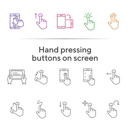 Hand pressing buttons on screen icons. Set of line icons. Hand holding mobile, hands with tablet. Touchscreen concept. Vector illustration can be used for topics like modern technologies, internet