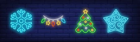 New Year decoration in neon style collection. Snowflake, garland, Christmas tree. Night bright advertisement. Vector illustration in neon style for banner, billboard