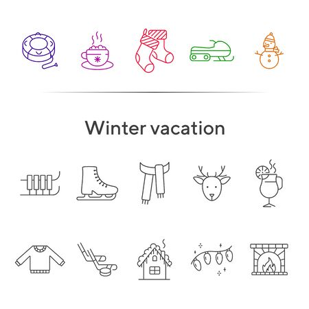 Winter vacation line icon set with ice skates and sledges. Christmas stocking, ice hockey, hot cocoa. Hello winter concept. Can be used for topics like New year, holidays, outdoor activity Ilustração