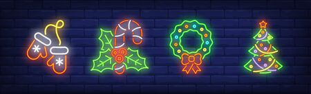 Merry Xmas neon sign set. Mittens, Christmas tree, Christmas wreath. Night bright advertisement. Vector illustration in neon style for banner, billboard  イラスト・ベクター素材