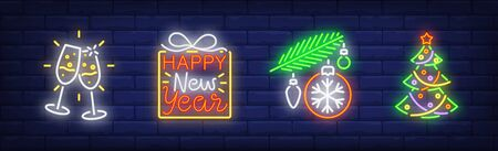 Happy New Year neon sign set. Glasses with champagne, Christmas tree, baubles. Night bright advertisement. Vector illustration in neon style for banner, billboard