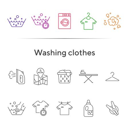Washing clothes line icon set. Drying, textile, bleaching. Laundry concept. Can be used for topics like housework, service