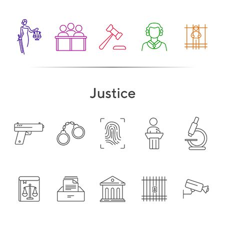 Justice line icon set. Video surveillance, fingerprint, courthouse. Justice concept. Can be used for topics like crime, trial, court, investigation Illustration