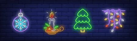 Christmas decoration in neon style set. Christmas ball, garland, Christmas tree. Night bright advertisement. Vector illustration in neon style for banner, billboard