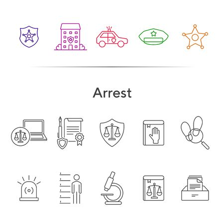 Arrest line icon set. Police department, car, sheriff badge. Police concept. Can be used for topics like justice, crime, investigation 向量圖像