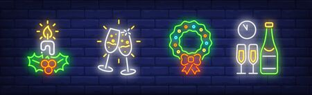 Merry Xmas neon sign collection. Candle, glasses with champagne, Christmas wreath. Night bright advertisement. Vector illustration in neon style for banner, billboard