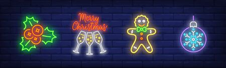 Merry Christmas neon sign set. Holly, Christmas ball, gingerbread man. Night bright advertisement. Vector illustration in neon style for banner, billboard