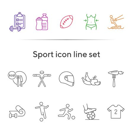 Sport icon line set. Soccer, slimming, equipment. Fitness concept. Can be used for topics like wellness, physical activity, lifestyle Foto de archivo - 134860852