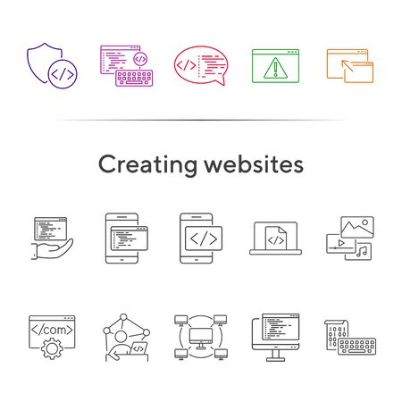 Creating websites icons. Set of line icons. Computer network, firewall, coding. Encryption concept. Vector illustration can be used for topics like internet, encoding Vetores