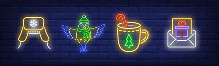 New Year in neon style collection. Hat, letter, winter drink. Night bright advertisement. Vector illustration in neon style for banner, billboard