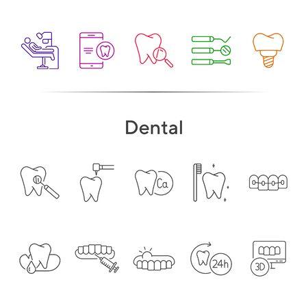 Iconos dentales. Conjunto de iconos de línea. Dentista, diente, profilaxis. Concepto de medicina. La ilustración vectorial se puede utilizar para temas como estomatología, tratamiento, paciente.