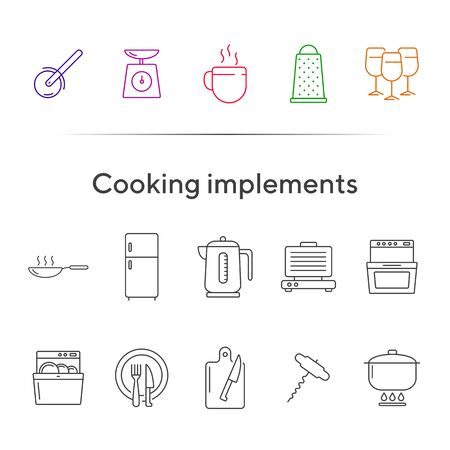 Cooking implements icons. Set of line icons. Frying pan, grater, stove. Culinary concept. Vector illustration can be used for topics like restaurant business, cooking Ilustração