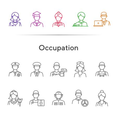 Occupation icons. Set of line icons on white background. Painter, officer, nurse. Profession concept. Vector illustration can be used for topics like career, skill, service Illustration