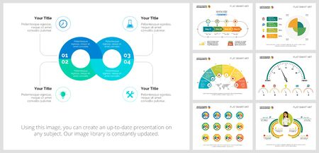 Colorful promotion or training concept infographic charts set. Business design elements for presentation slide templates. For corporate report, advertising, leaflet layout and poster design. Ilustracja