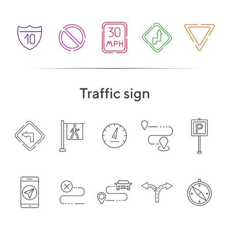 Traffic sign line icons. Route, destination, yield ahead. Road sign concept. Vector illustration can be used for topics like traffic, road marking, traffic striping Illustration