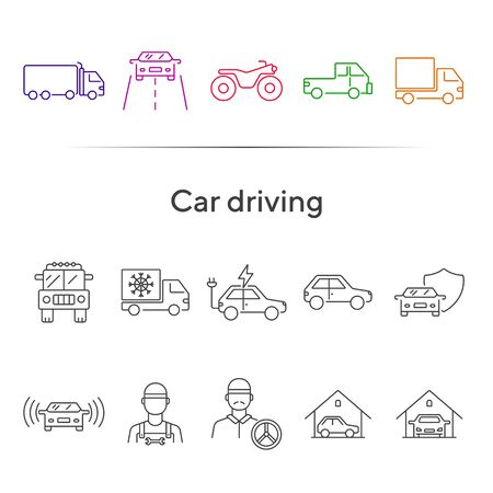 Car driving line icon set. Semi truck, vehicle, driver. Transport concept. Can be used for topics like delivery, logistics, courier service