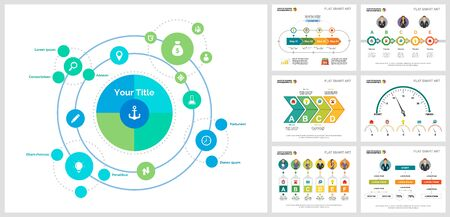 Colorful research or training concept infographic charts set. Business design elements for presentation slide templates. For corporate report, advertising, leaflet layout and poster design. Ilustracja