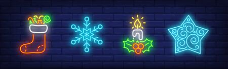 Merry Xmas collection in neon style. Christmas boot, snowflake, candle. Night bright advertisement. Vector illustration in neon style for banner, billboard