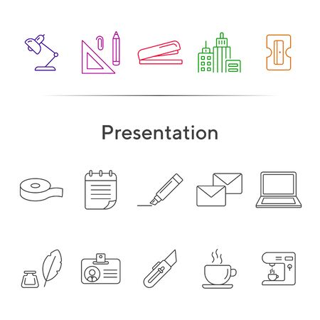 Presentation icon set. Line icons collection on white background. Supply, stationary, workspace. Office concept. Can be used for topics like school, college, business Ilustração