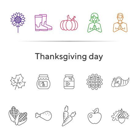 Thanksgiving day line icon set with acorn, pie and pumpkin. Pilgrim, honey, vegetable, fruit. Thanksgiving concept. Can be used for topics like autumn, holiday, dinner, harvest