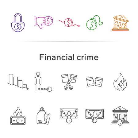Financial crime icons. Set of line icons. Locked money, broken credit card, dollar dislike. Bankruptcy concept. Vector illustration can be used for topics like money, finance, banking