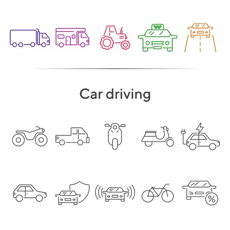 Car driving line icon set. Camper, bike, electric car. Transport concept. Can be used for topics like vehicle, travel, trip
